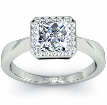 Princess Cut Diamond Halo with Plain Band 0.90 cttw - click to enlarge