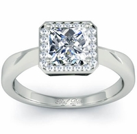 Princess Cut Diamond Halo with Plain Band 0.90 cttw