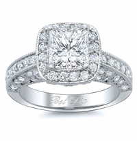 Princess Cut Diamond Setting Framed by Halo Round Diamonds