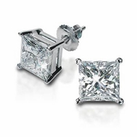 Princess Cut Diamond Stud Earrings 14kt Gold
