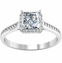 Princess Cut Halo Engagement Ring 1.00 cttw