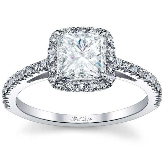 princess cut halo engagement ring click to enlarge - Princess Wedding Rings