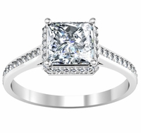 Princess Cut Pave Halo Engagement Ring 1.25 cttw
