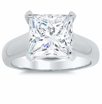 Princess Cut Trellis Solitaire Ring 3.5mm Wide