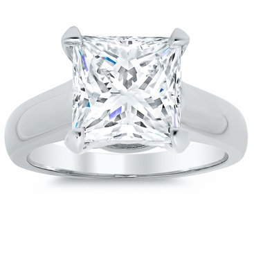 Princess Cut Trellis Solitaire Ring 3.5mm Wide - click to enlarge