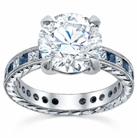Princess Diamond Accented Hand-Engraved Engagement Ring