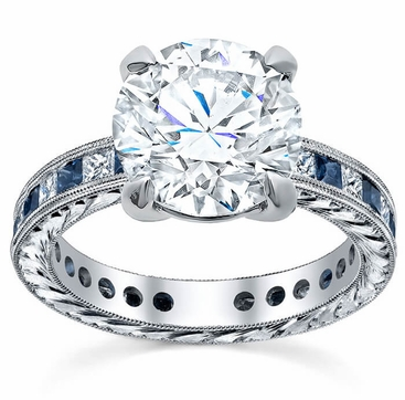 Princess Diamond Accented Hand-Engraved Engagement Ring - click to enlarge
