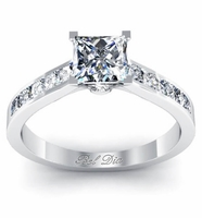 Princess Engagement Ring Setting with Diamond Accents