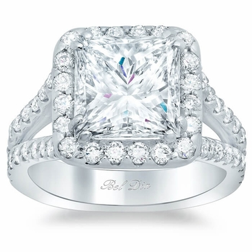 Princess Halo Engagement Ring - click to enlarge