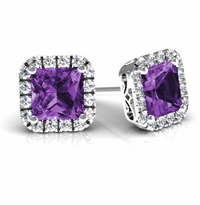Princess Halo Studs with Amethysts