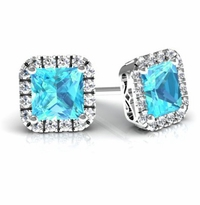 Princess Halo Studs with Aquamarines