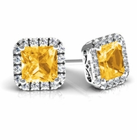 Princess Halo Studs with Citrines