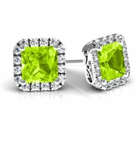 Princess Halo Studs with Peridots