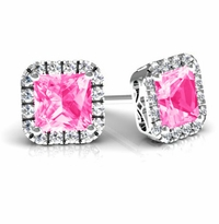 Princess Halo Studs with Pink Sapphires