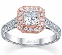 Princess Rose Gold Halo Engagement Ring with Pink Diamonds