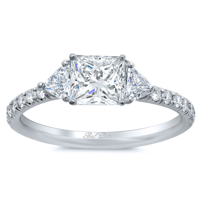 princess three stone engagement ring with pave band click to enlarge - 3 Stone Wedding Rings