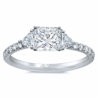 Princess Three Stone Engagement Ring with Pave Band