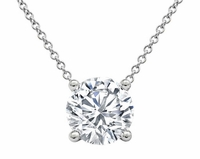 Prong or Bezel Set Diamond Solitaire Pendant GIA Certified
