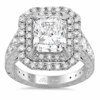 Radiant Double Halo Engagement Ring with Hand Engraving