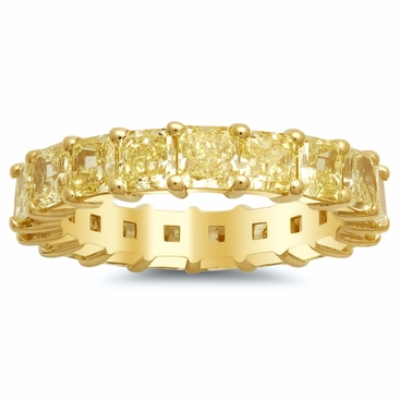 Radiant Yellow Diamond 18kt Gold Eternity Band - click to enlarge
