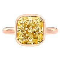 'Reinette' Rose Gold Engagement Ring for Fancy Intense Yellow Diamond