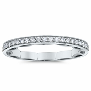 Ribbon Motif Diamond Wedding Band