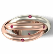 Two Tone Gold Rolling Ring with Rubies