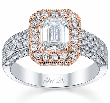 Rose Gold Halo Diamond Engagement Ring Setting - click to enlarge