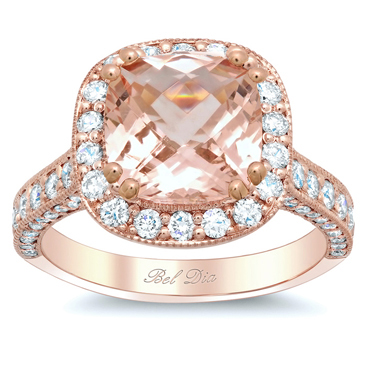 rose gold halo engagement ring setting with morganite - Wedding Ring Setting