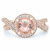 Rose Gold Mobius Twist Engagement Ring with Morganite