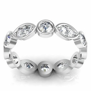 Round and Marquise Scalloped Eternity with Round Diamonds