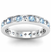 Round Aquamarine and Diamond Eternity Ring in Channel Setting