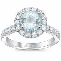 Round Aquamarine Halo Engagement Ring