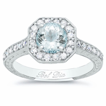Round Aquamarine in Square Halo Engagement Ring Setting - click to enlarge