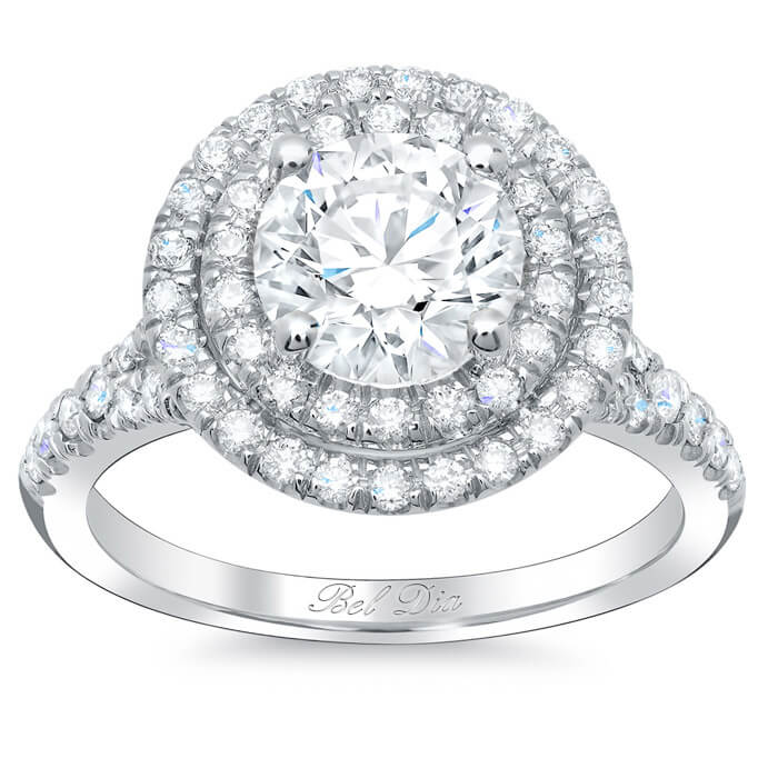 Round Baby Split Double Halo Engagement Ring