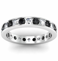 Round Black and White  Diamond Eternity Band in Channel Setting