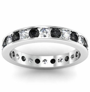 Round Black and White Diamond Eternity Ring in Channel Setting