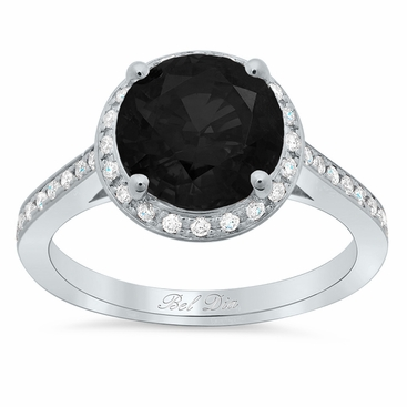 Round Black Diamond Halo Engagement Ring - click to enlarge
