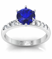 Round Blue Sapphire Engagement Ring with Channel Set Band