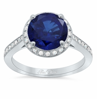 Round Blue Sapphire Halo Engagement Ring