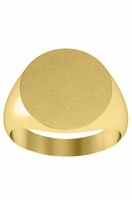 Round Center 14k Yellow Gold Signet Ring