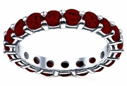Round Cut Garnet Birth Stone Eternity Band