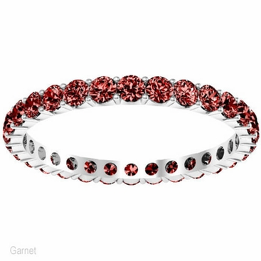 Round Cut Garnet Birthstone Eternity Band - click to enlarge