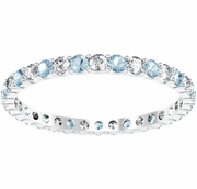 Round Diamond and Aquamarine Eternity Band