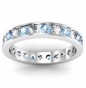 Round Diamond and Aquamarine Eternity Band in Channel Setting