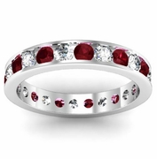 Round Diamond and Garnet Eternity Band in Channel Setting