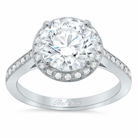 Round Engagement Ring with Halo 0.75 cttw