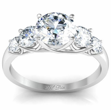 Round Five Diamond Engagement Ring with Trellis Setting - click to enlarge
