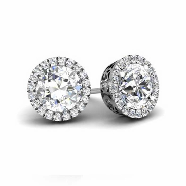 Round Forever One Moissanite Round Halo Earrings - click to enlarge