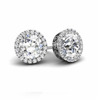 Round Forever One Moissanite Round Halo Earrings